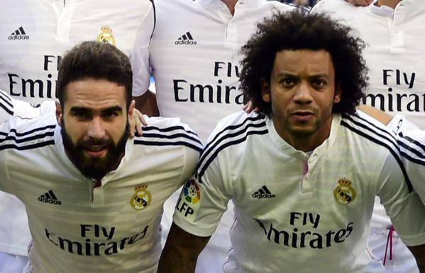 Marcelo y Carvajal, juntos en el once antes de comenzar un partido de Liga con el Real Madrid. Twitter.