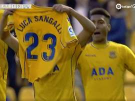 Marco Sangalli dedicated the goal to his brother, Luca. Screenshot/Liga123TV