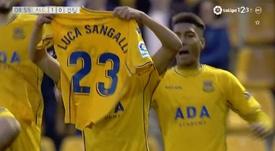 Marco Sangalli dedicated the goal to his brother, Luca. Screenshot/Liga123TV