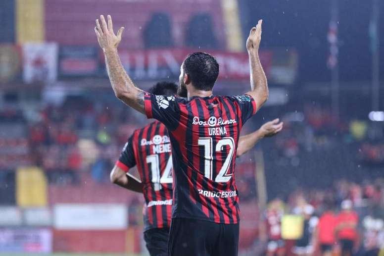 Marco Ureña anotó el único tanto del Alajuelense-Grecia. Twitter/ldacr