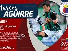 Marcos Aguirre, nuevo jugador de Deportivo Pasto. DeporPasto