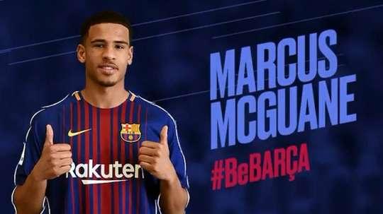 Marcus McGuane, reforço da equipe B do Barça. Captura/FCBarcelonaB