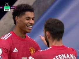 Rashford and Bruno Fernandes combined for Man Utd. Screenshot/DAZN