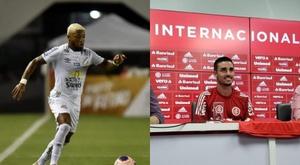 Marinho e Thiago Galhardo, dois dos goleadores do Brasileirão 2020. Twitter SCInternacional/SantosFC