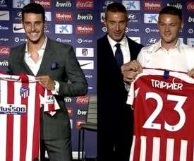 Mario Hermoso and Kieran Trippier were presented to the press. Screenshot/Atletico
