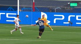 La jolie frappe de Pasalic pour l'ouverture du score contre le PSG. Capture/MovistarLigadeCampeones