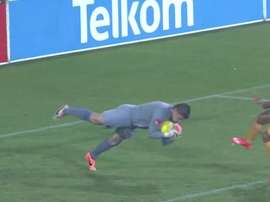 Maritzburg United goalkeeper Glenn Verbauwhede diving during a match. Twitter