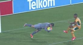 Maritzburg United goalkeeper Glenn Verbauwhede diving during a match. Twitter