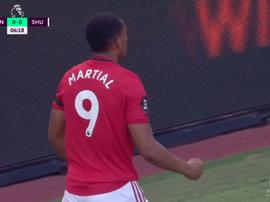 Anthony Martial ouvre le score contre Sheffield. Capture/DAZN