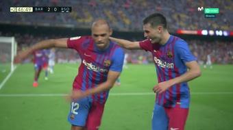 O segundo do Barça foi embalado por Braithwaite. Captura/Movistar+LaLiga