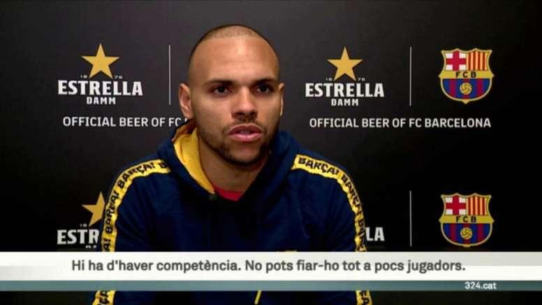 Martin Braithwaite sees his future at Barcelona. Screenshot/TV3