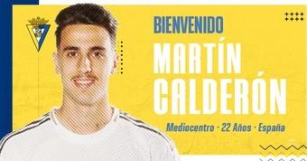 Cádiz signe le joueur madrilène Martín Calderón. Twitter/Cadiz_CF