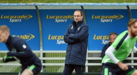Martin O'Neill watches on as the Republic of Ireland train. Twitter/FAI