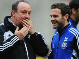 Mata with Benitez during his time at Chelsea. Twitter