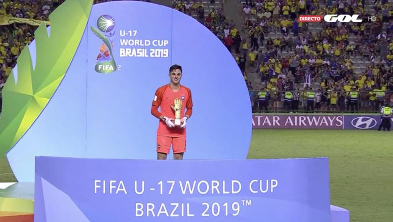 Matheus Donelli ganha Luva de Ouro da Copa do Mundo Sub-17. Captura/Gol