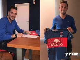El jugador ha firmado un acuerdo por dos temporadas con el club argentino. ClubÁtléticoTigre