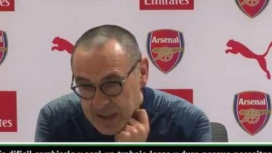 Sarri dejó un curioso mensaje en rueda de prensa. Captura/ESPN