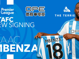 Mbenza joins from Montpellier. Twitter/htafcdotcom