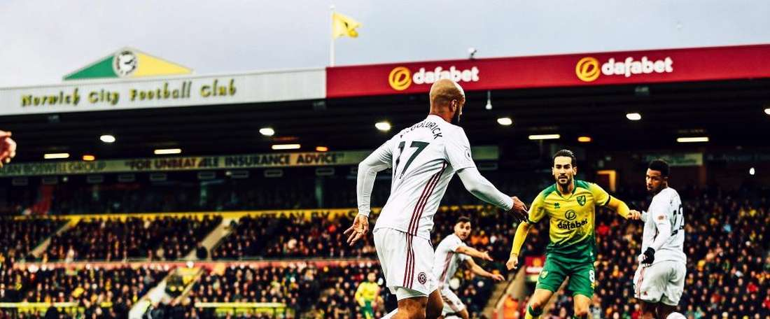 El Sheffield le ganó al Norwich City. Twitter/SheffieldUnited