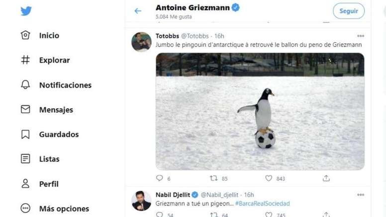 Griezmann le dio 'me gusta' a varios memes. Twitter/AntoGriezmann
