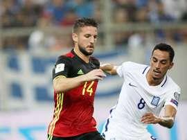 Foi ao quarto jogo pelos gregos que Zeca se estreou a marcar pela 'nova' Seleção. Twitter/EPO