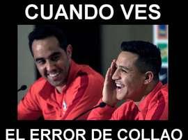 Los 'memes' centraron sus focos en Collao y Nicolás Castillo. Captura/Twitter