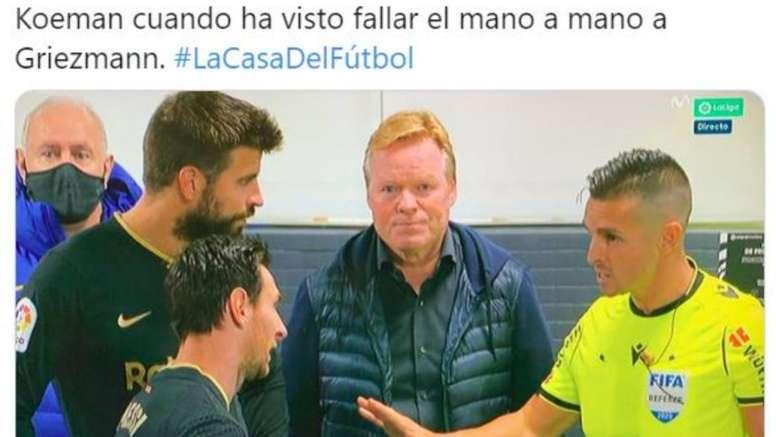 Los mejores memes del Getafe-Barcelona. Captura/MovistarFutbol