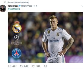 Mensah a retwitté le message madridiste de Kroos. Twitter
