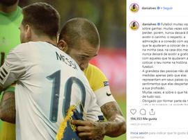 Le message de Dani Alves après l'élimination de Messi. Instagram/danialves