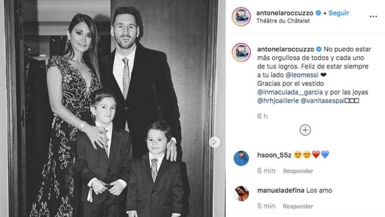 Antonella envió un tierno mensaje a Messi. Instagram/antonelaroccuzzo
