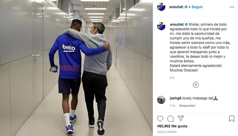 Alguns jogadores do Barça se despedem de Valverde nas redes sociais. Instagram/ansufati