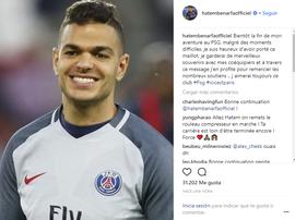Ben Arfa deixa mensagem de despedida. Instagram/BenArfa