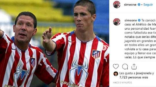 Simeone despidió a Fernando Torres. Captura/Instagram/Simeone