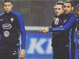 A piada de Griezmann sobre Mbappé. Instagram @antogriezmann