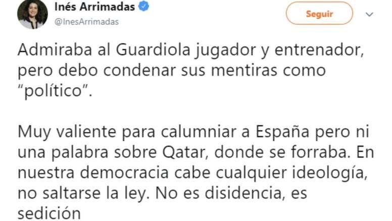 Arrimadas criticó la doble cara del Guardiola político. Twitter/InésArrimadas