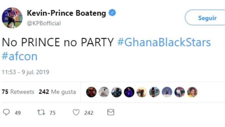 Kevin-Prince Boateng tire sur le Ghana après l'élimination en CAN. Twitter/KPBofficial