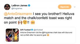 LeBron parabenizou Griezmann por sua comemoração. Twitter/Captura/KingJames