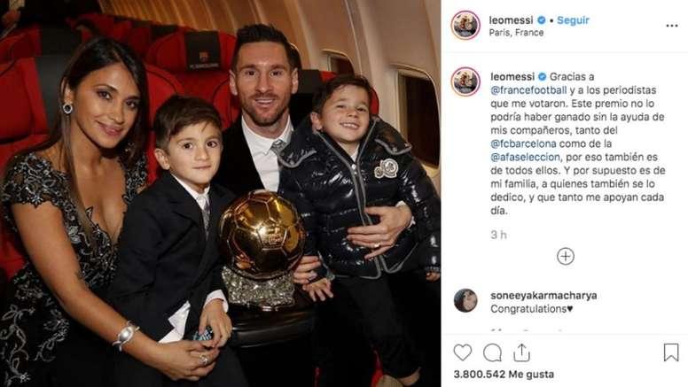 Le message de Messi après la cérémonie du Ballon d'Or. Instagram/leomessi