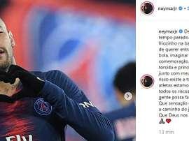 Il messaggio di Neymar prima della sfida. Instagram/NeymarJR