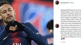 Vuelve Ney. Instagram/NeymarJR