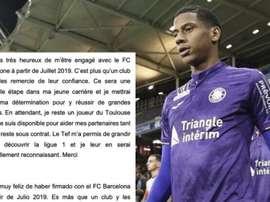 Todibo ringrazia il Tolosa. Twitter/jctodibo