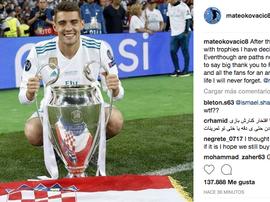 Kovacic agradeció al Real Madrid los tres años pasados. Instagram/mateokovacic8