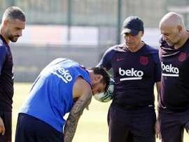 Messi se lesiona em seu primeiro treino. FCBarcelona