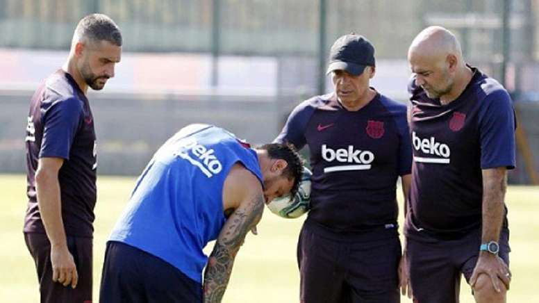 Messi has got injured in his first training session back. FCBarcelona