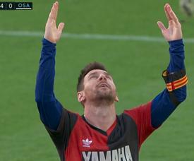 Messi dedicou golaço contra Osasuna a Diego Armando Maradona. Captura/MovistarLaLiga
