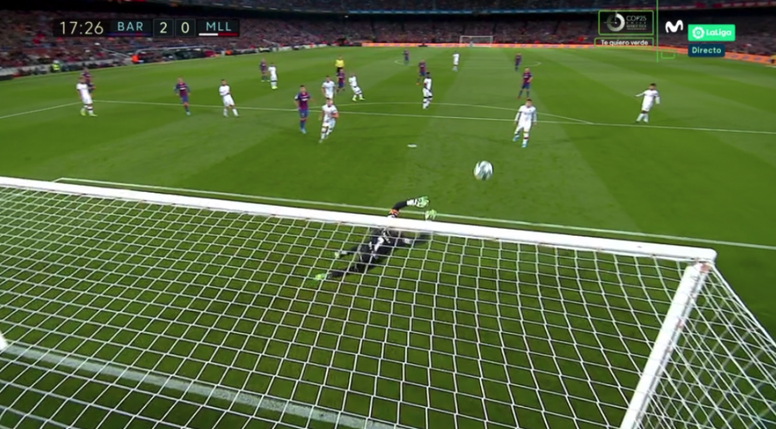 Le pied en or de Messi fait encore des siennes pour le break. Capture/MovistarLaLiga