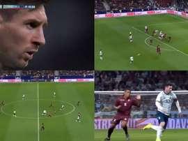 Messi, bien seul face au Vénézuela. Capture/DAZN