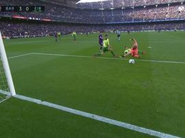 Messi got his hat-trick inside 40 minutes.  Captura/Movistar+