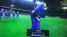 Messi's fourth Golden Shoe. MovistarPartidazo