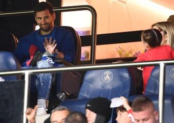 Messi vio el partido del PSG desde la grada. AFP